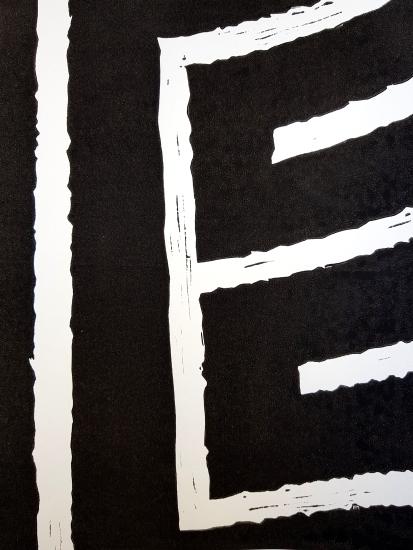 Fragment de labyrinthe, boite grise, linogravure sur papier, 2016