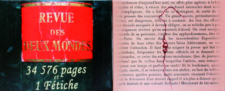 La revue des 2 mondes, 34 576 pages et 1 fétiche, détail 1, Installation, 36 volumes anciens et deux panneaux imprimés, collés sur toile, 2008
