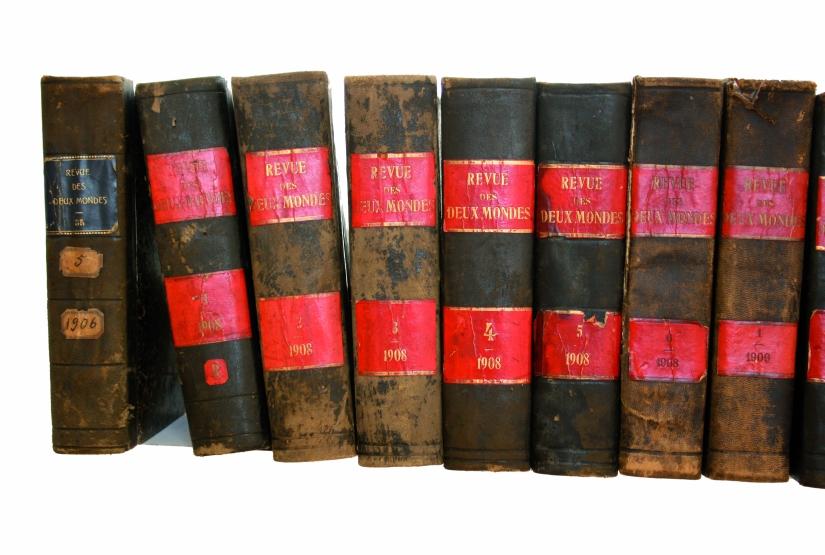 La revue des 2 mondes, 34 576 pages et 1 fétiche, détail 2, Installation, 36 volumes anciens et deux panneaux imprimés, collés sur toile, 2008