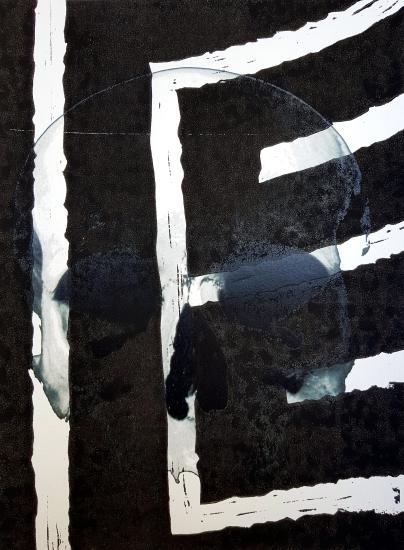 Labyrinthe au crane, linogruve et impression laser sur papier, 2016