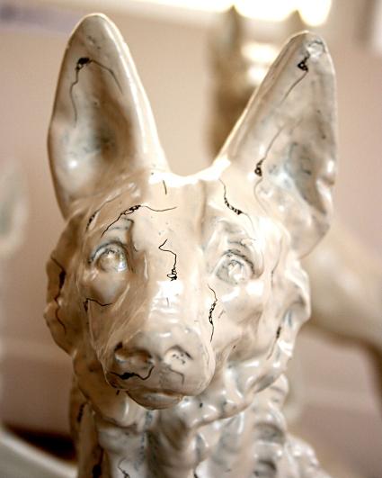 Nous, les chiens, détail, Installation, chiens en plâtre peints et fourrures 2007 2008
