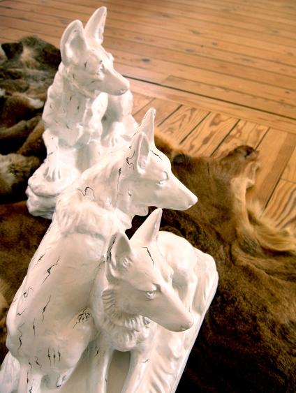 Nous, les chiens, détail3, Installation, chiens en plâtre peints et fourrures 2007 2008
