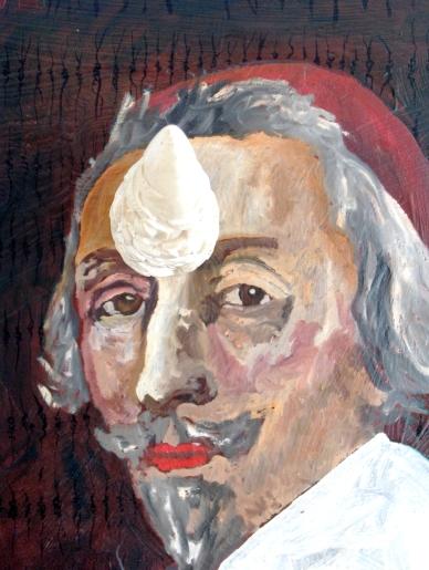 Richelieu, Les deux mondes, détail 1, Huile sur toile et corne en résine, 2008