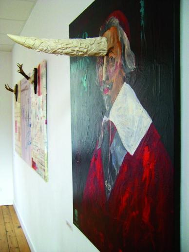 Richelieu, Les deux mondes, détail 2, Huile sur toile et corne en résine, 2008