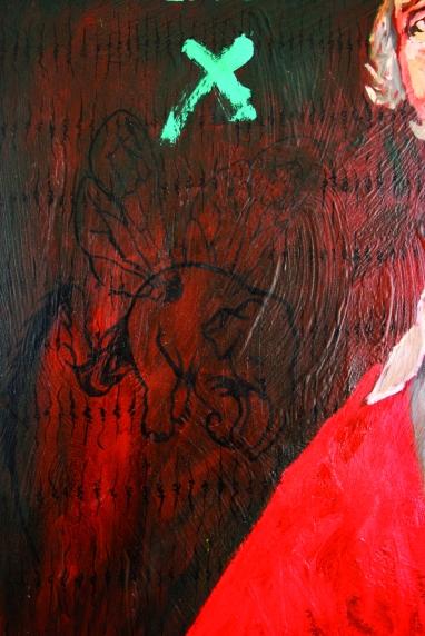 Richelieu, Les deux mondes, détail 5, Huile sur toile et corne en résine, 2008