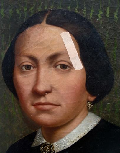 spolia le pansement, huiel sur toile du XIXe siècle, 2011, 80x65, détail